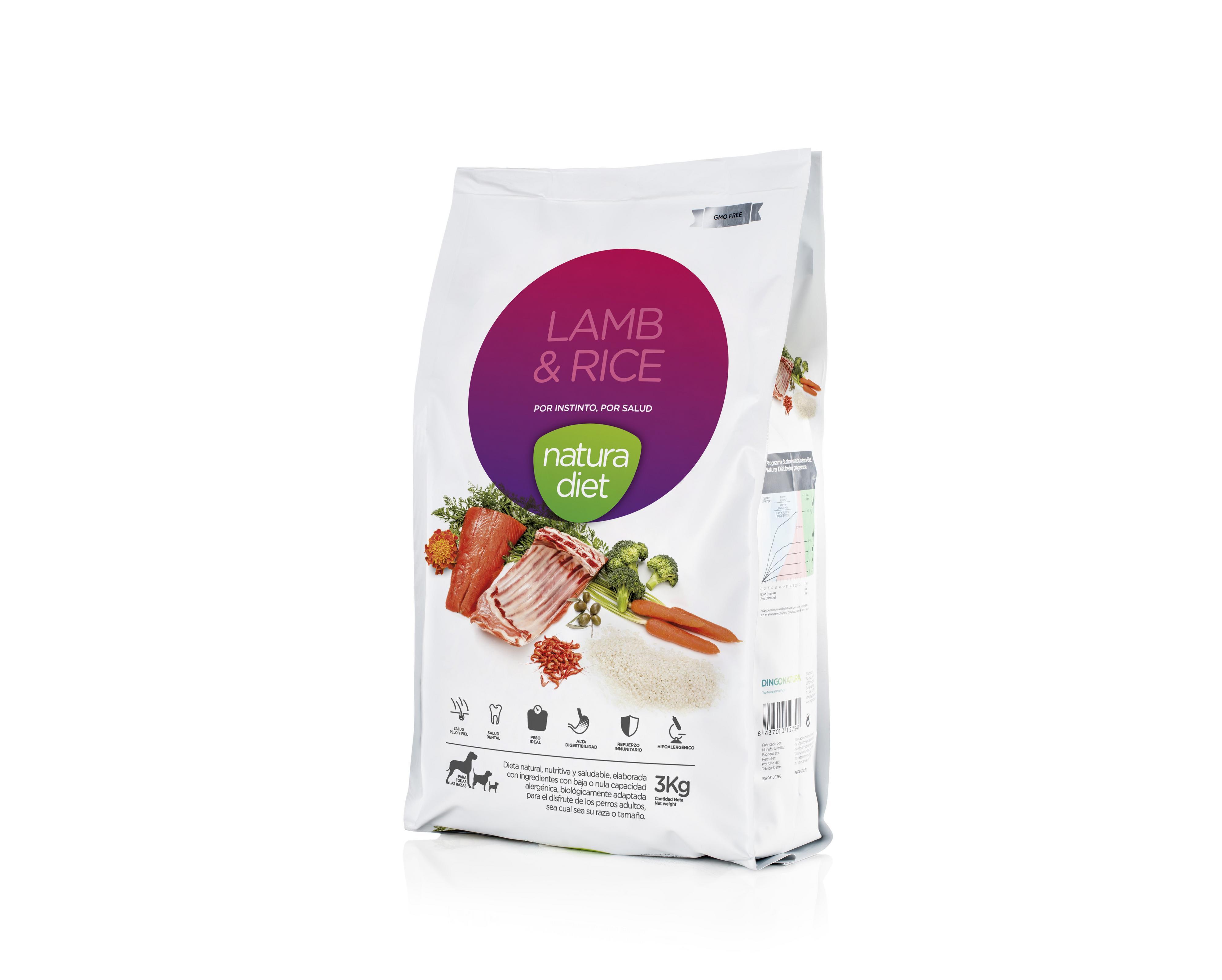 Hypoallergeeninen Lamb & Rice Natura Diet